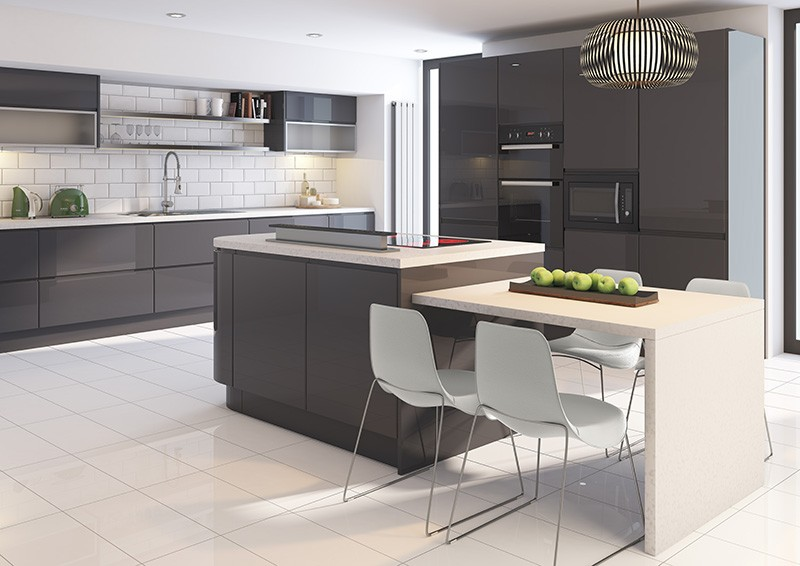 Sculptured Grey Smoky And Warm Kitchen Units - Gloss grey kitchen units